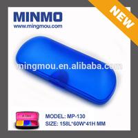 blue matt finish semi-transparent hard plastic eyeglass cases