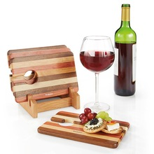 Wine & Snack Wooden Trays (Set of 4)