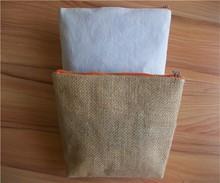 jute design hot sale cosmetic zipper bag with logo printing