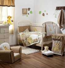 2015 Lion embroidery baby bedding set 100% silk hot sale designer polka dot pattern bed sheet