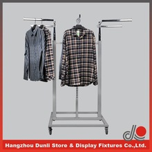 Movable chrome garment rack with caster for shops