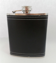 stainless steel mini type hip flask leather cover