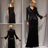 Custom Made Sheath Black Mother of the Bride Dresses With Jacket Long Sleeve Floor Length