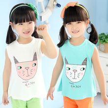 wholesale2015 summer Korean version of the new children's cartoon baby kitten Girls sleeveless vest T-shirt tx-3628