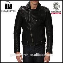 2014 brand black wholesale mens kawasaki motorbike leather jacket