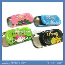 slide top metal candy tin boxes