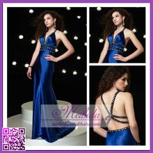 Simple Latest Design Beaded Sleeveless Mermaid Brush Train Ruffled Chiffon Evening Dress Online Shopping
