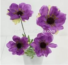 wholesale purple artificial poppy single lifelike silk corn poppy 55cmH 6cm dia poppy with 4 heads
