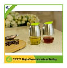 Kitchenware 2 piece set oil & vinegar bottle Cruet Glass Bottle Stainless Steel Mug for kitchen supply