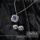 Wholesale top quality imitation platinum jewelry sets blue crystal cube necklace and earrings