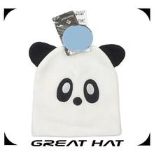 Custom patterns hats baby animals knitted White panda cute beanie hats