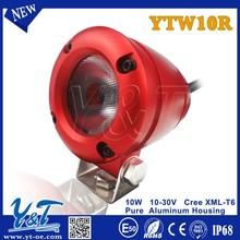 Y&T YTW10 Red High Lumens led light for motorcycle helmet 10w Led Work Light scooter light