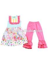 top fashion kids wear outfit for girls colorful chevron polka dot lovely dress+pants set