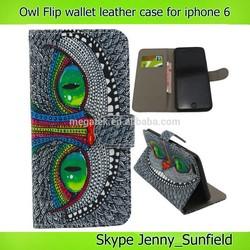 phone case owl print flip wallet leather case for iphone6 plus 4.7 , for iphone6 case leather ,for iphone 6 case