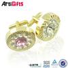 Glitter cheap exquisite design accent brass cufflinks