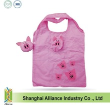 Animal cut pink pig shaped foldable shopping bag(CFA-140)