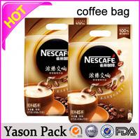 Yason black side gusset coffee bag with valve hot sale printed plastic coffee bag with valve for packing customized aluminum co