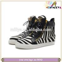 Unisex smart lace up men women shoes autumn winter flat fashion zebra print platform casual shoes!!