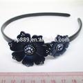 moda diadema de pelo negro con accesorios de flores