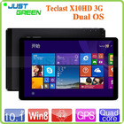 Top Quality Teclast Dual Boot Windows8+Android 4.4 tablet pc X10HD 3G Quad Core 2GB RAM 64GB ROM 10.1 inch IPS Retina 2560*1600