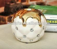 novel design ceramic candle holder with acrylic design,ceramic tealight holder with golden colour