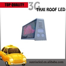Sunrise led taxi top advertising p4, CE approved led taxi top advertising for sale with red color and multi-language
