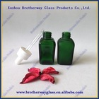 Hot sale 1oz frosted green glass eye drop essential oil bottle with white plastic cap Wholesale