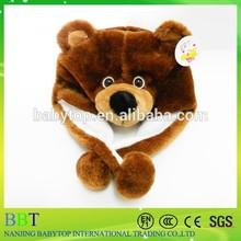 Plush brown bear head hat, earmuff scarf gloves animal hat, fashion animal hat scarf gloves
