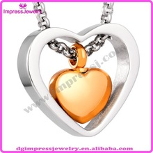 2015 custom two tone design stainless steel silver and gold heart pendant