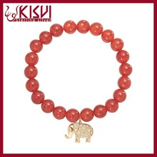 KISVI 925 Silver Jewelry Wholesale Silver Bracelet, Red agate elephant 14k gold bracelet