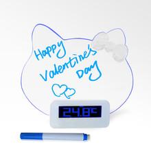 cat shaped digital led battery operated table calendar clock