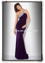 Hot sale heavry beaded one shoulder and ruffle slim chiffon bodice long Prom Dress GL0313