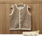 baby vest 100% organic cotton nature stripes color with cat embroidery