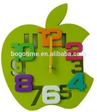 Apple shape 3D decorative plastic wall clock