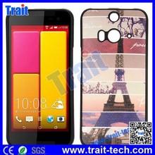 Cross Pattern Leather Coated Ultraslim Flexible Soft TPU Case for HTC Butterfly 2(Paris Eiffel Tower)