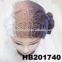 fashion flower wool knit headband ear warmer knitted headband