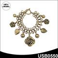chapado en oro de la cadena de la hoja encantos medallón declaración pulsera de flores