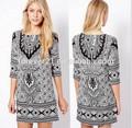 /s m/l tamaños dital impreso vestidos de verano, casual mangas medio de algodón cambio de vestidos