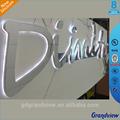 decorativa de acero inoxidable de la luz led letra del alfabeto