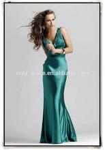 Hot sale fashion style lower v neckline dark green elastic satin floor length Prom Dress GL0327