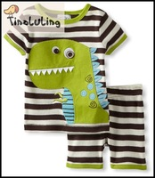 New fashion Children's Clothing Sets, Dinosaur cartoon baby clothing suits children summer stripe clothes pictures