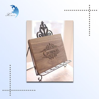 Fashionable laser engraved painting brushed solid wooden plaque