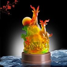 beautiful double goat Coloured glaze awards statue, goat figurine, business gifts