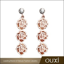 OUXI hot selling rose flower 18k gold plated zircon clearance jewelry