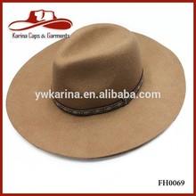 Folk Style Camel 100% Wool Felt Indiana Jones Big Brim Fedora Floppy Hat