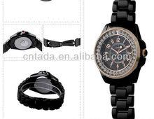 fashion ceramic black with gold ring sinobi watch,alloy metal band/case,men/women's size pair watch,freeshipping