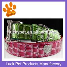 Fashion Croc Pu Leather Rhinestone Heart Charms Pet Collar Making Supplies