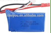 High quality battery 7.4v 850mAh 703048h 7.4v li-polymer battery rechargeable 7.4v rc helicopter 7.4v li-ion 850mah battery