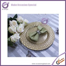 17765-2 gold glitter braid wedding Peacock glass charger plates in 2015