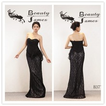 2015 black color chiffon&lace decorate beads sexy evening dresses & wedding dresses